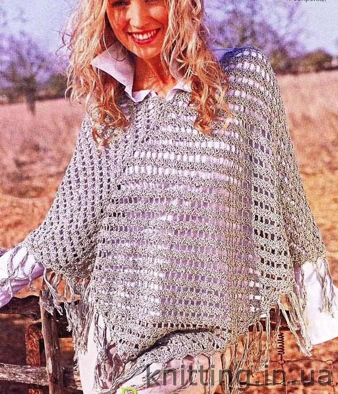 ажурное пончо вязаное крючком пуговка вязание спицами и крючком